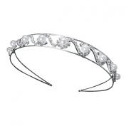 Bridal Wedding Crystal Rhinestone Faux Pearl Cluster Headband Tiara