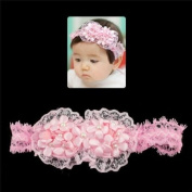 Girls Pink Lace Stretch Hairband with Flowers