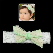 Girls White Lace Stretch Headband with Green Bow