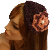 Winter Knit Floral Pearl Hat Cap Fascinator Headband HeadPiece Cocktail