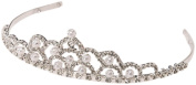 Darice V35975, Tiara with Rhinestone and Pearl, Silver