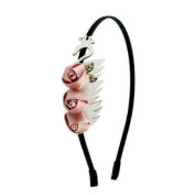 White Leatherette Swan w/ Satin Roses Hairband Peach