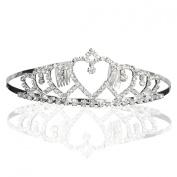 Bridal Wedding Princess Heart to Heart Tiara Crown With Crystal Rhinestone Drops