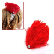 Girl's White Lace Stretch Headband with Red Feather & Rhinestones