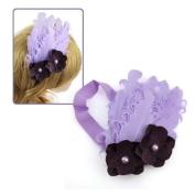 Girl's Lilac Stretch Headband Feather & Purple Flowers