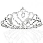 Bridal Wedding Princess Tiara Crown With Blooming Crystal Rhinestone Hearts