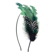 Crystalmood Handmade Guinea Fowl and Curly Feather Hairband Kit Adjustable Removable