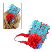 Girls Red Blue Feather with Flowers Stretch Hairband