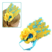 Girls Yellow Blue Feather with Flower & Sequined Bow Stretch Hairband