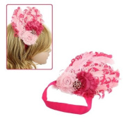 Girls Duel-Tone Pink Curly Feather & Flowers Pink Stretch Hairband