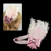 Girls Pink White Feather w/ Sequined Bow Stretch Hairband