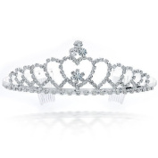 Bling Jewellery Silver Plated Echoing Heart Rhinestone Crystal Bridal Crown Tiara