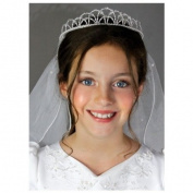 First Communion Pearl Crown Beaded Veil
