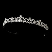 Superb Silver Clear Rhinestone Floral Bridal Tiara
