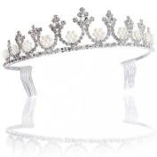 Bling Jewellery White Gold Pearl Crown Bridal Tiara