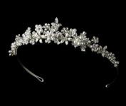 Silver & White Pearl Floral Bridal Tiara