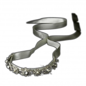 Ivory Silver Crystal & Ivory Pearl Bridal Ribbon Headband Headpiece