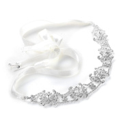 . Crystal Bridal Headband with Ribbon - White or Ivory