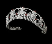 Nicole Red Rhinestone Wedding Bridal Tiara