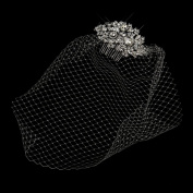 Cage Veil on Antique Rhodium Multi Cut Crystal Side Wedding Bridal Comb