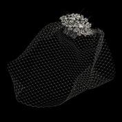 Cage Veil on Antique Rhodium Multi Cut Crystal Side Wedding Bridal Comb