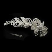 Janine Rhinestone Floral Side Accented Wedding Bridal Headband