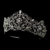 Carly Antique Silver Rhodium Clear Rhinestone Bridal Royal Tiara