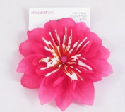 Large Pink Flower Ponytail Holder with Pink Rhinestone Centre