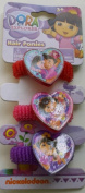 Dora Hair Ponies (3) Large Hearts Pony Tail Holders