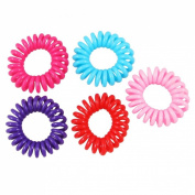 Rosallini 5 Pcs Women Plastic Assorted Colour Bouncy Coil Hair Tie Ponytail Holders