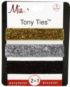 Mia Tony Hair Ties Glitter, Gold, Silver, Black