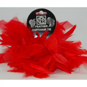 2 Red Chandelle Feather Hair Tie Scrunchy Pony Tail Holder NEW!