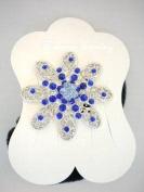 Blue Flower Ponytail Holder with Rhinestones