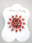 Red Flower Ponytail Holder with Rhinestones