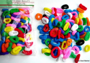 100 Terry Elastic SMALL Ponytail Braided Hair Holder MULTI colour PACK
