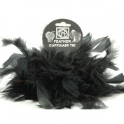 2 Black Chandelle Feather Hair Tie Scrunchy Pony Tail Holder NEW!