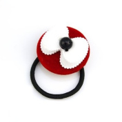 White Bow on Red Disc Ponytail Holder