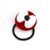 White Bow on Red Disc Ponytail Holder