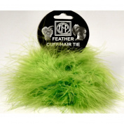 2 Lime Green Marabou Feather Hair Tie Scrunchy Pony Tail Holders NEW!