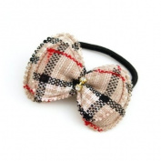 Grid Pattern Fabric Ponytail Holder Cream