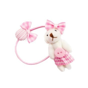 Pink-Skirt White Bear Elastic Ponytail Holder
