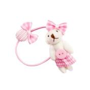 Pink-Skirt White Bear Elastic Ponytail Holder