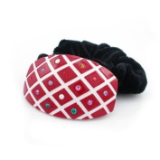 Red Acrylic Flower Velvet Ponytail Holder with Czech Crystals