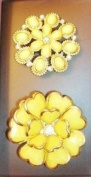 Yellow Flower Hair Elastics with. Crystal - Set of 2