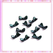 Green Flash Spots Bowknot Design Nail Art Plasthetics Sticker Decoration 10Pcs B0201