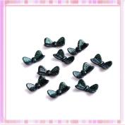 Green Flash Spots Bowknot Design Nail Art Plasthetics Sticker Decoration 10Pcs B0201