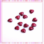 Red Lovely Heart Design Nail Art Plasthetics Sticker Decoration 12Pcs B0192