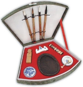 Deluxe Sumi-E 4-Brush Fan Set