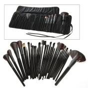 Generic 32 PCS Makeup Brush Set Black Carry Pouch