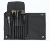 7 pc Black Cosmetic Brush Set with Black Snap Case and Zippered Pocket